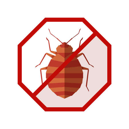 Flat geometric sign with bedbug Illustration