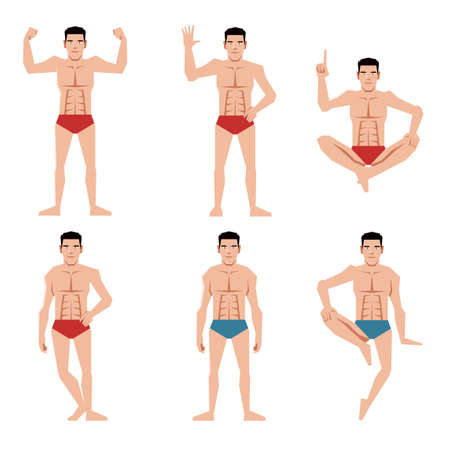 Vector image of the Set of sports men people flat icons