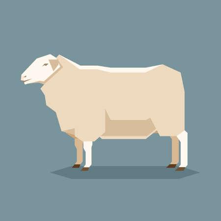 Vector image of the Flat geometric East Friesian sheep