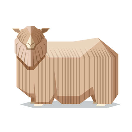 Vector image of the Flat geometric Lincoln sheep Illustration