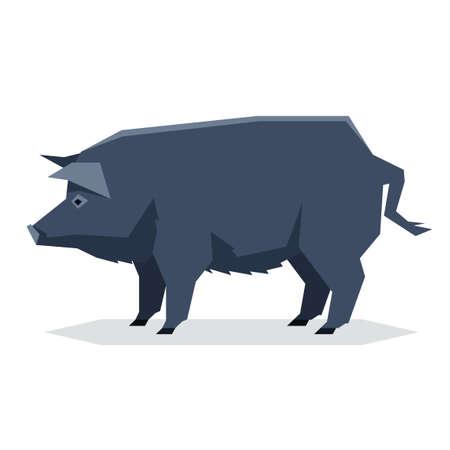 Vector image of the Flat geometric Guinea Hog Illustration
