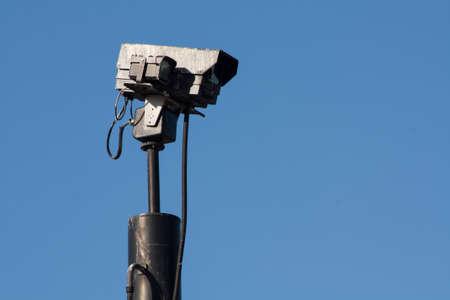 Camera over a blue sky for survey photo