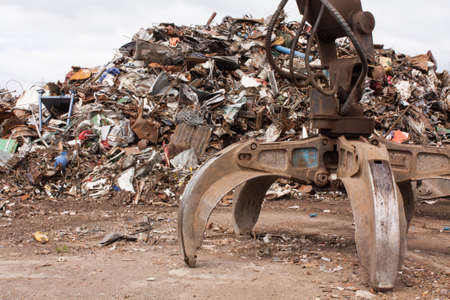 Scrap for recycling in steel making plan  Banco de Imagens