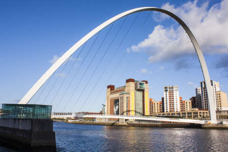 millennium bridge: Modern bridge on river in newcastle  Editorial
