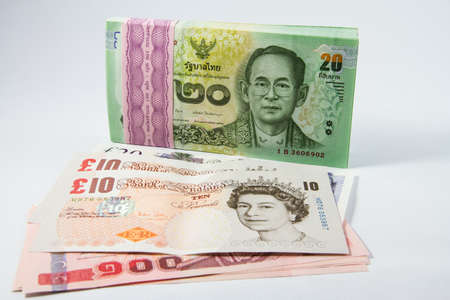 pound sterling: Pound sterling and baht money for business