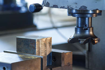 Cutters of CNC milling machine in workshop