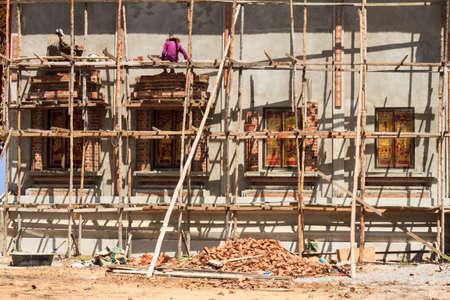 rickety: Wooden scaffolding three floor