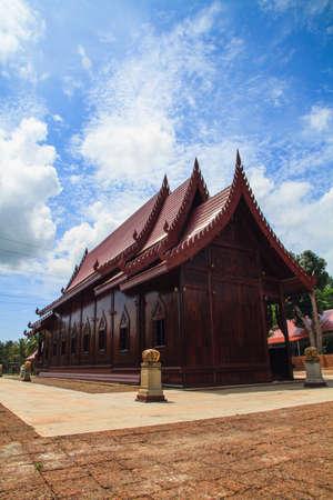 Chapel made of wood sugar palm, Thailand photo