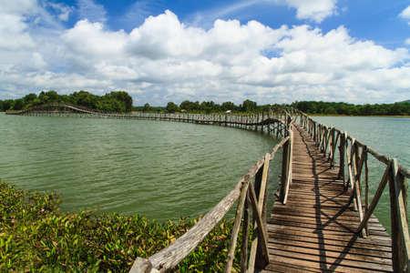 wooden bridge: The wooden bridge across the river to the mangroves.