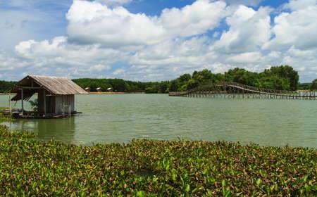 floating bridge: Floating cottage on the river