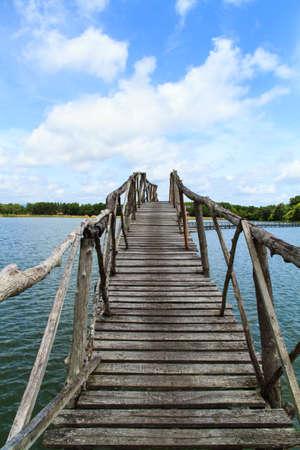wooden bridge: Wooden bridge across reservoir