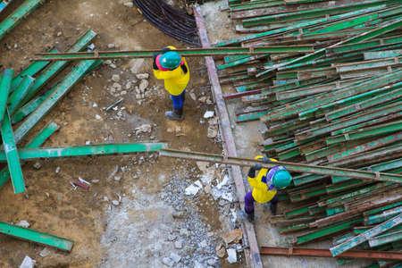 concrete commercial block: Construction workers