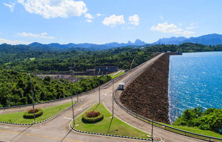 hill station tree: Ratchaprapha Dam for power generation at south of thailand Stock Photo