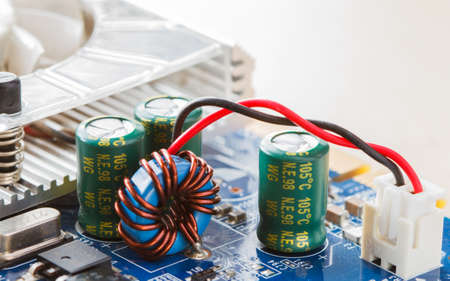 circuitos electronicos: circuitos electrónicos en el fondo gris Foto de archivo
