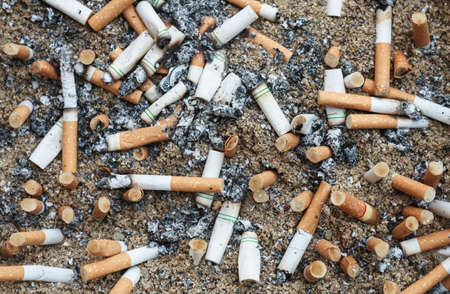 receptacle: Cigarette butts discarded on sand basket.