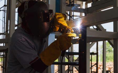 Welders were welding steel structural by arc welding.