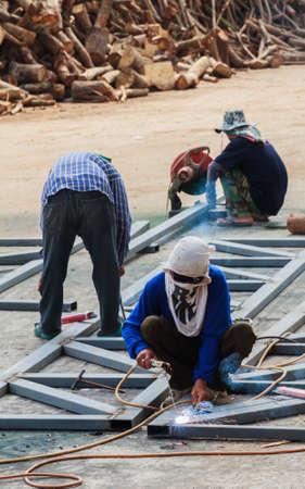 Worker Without Welding Protective Gloves Welding Metal - Conditions Hazardous Working.