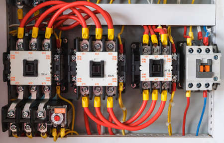 close up electrical wiring with fuses and contactors stock photo rh 123rf com electrical lighting contactor wiring diagram schneider electric contactor wiring diagram