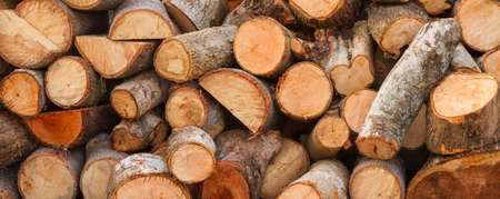 Firewood background,  Natural texture background. Stock Photo