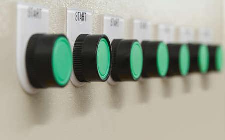 Green start buttons. Stock Photo
