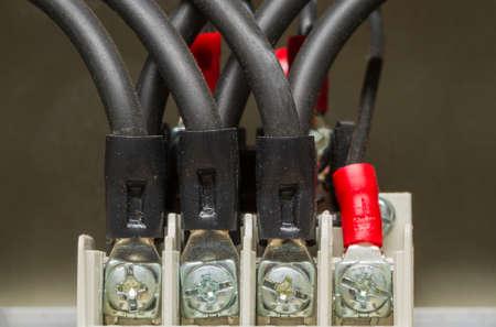 Closeup electrical wiring. Stock Photo