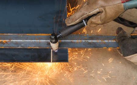 Manual Plasma Cutting Machine on Steel.