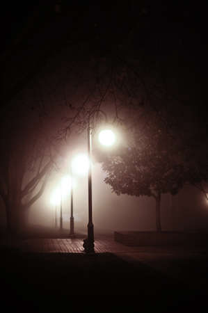 Lamp posts shine bright in a foggy night