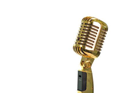 Retro golden microphone photo