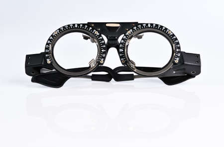 adjust: The frame to adjust the lens optometry Stock Photo