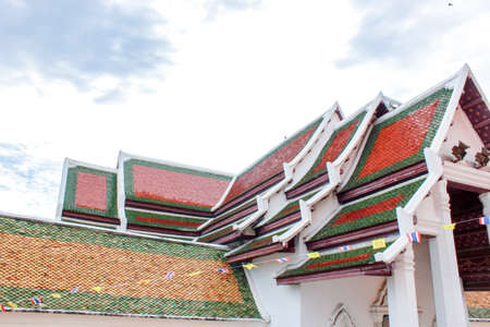 temple roof, Architectural detail on roof of Thai temple, Beautiful architecture in Ancient buddhist temple, Roof gable in Thai style