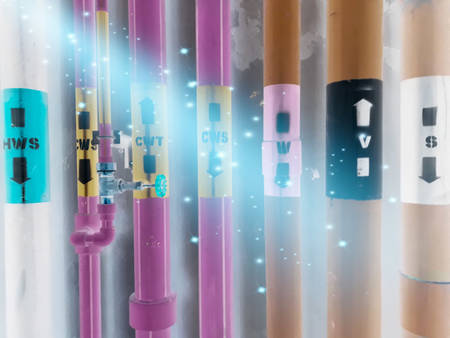 Abstract, abstract images, use of graphic manipulation techniques Structure of pipe and pipe systems in industrial plants, construction images and industrial business concepts