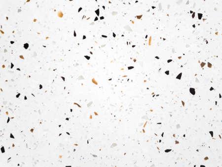 Terrazzo-Bodentextur weiß, schöner polierter Stein, Terrazzo-Bodentextur und Hintergrund, Marmormuster mit Hintergrund oder Textur, Mini-Stein in Betonwand, der Hintergrund aus weißem Sand mit Muschel, weiße Textur und Oberfläche des Terrazzo-Bodens für den Hintergrund