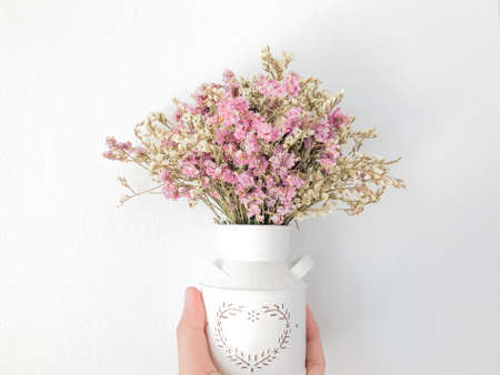 flowers, dried flowers, dry flower vintage style, Wild flowers in vase on white background, flower in retro vintage vase with wall white background, A hand holds an flower on a white isolated background Stok Fotoğraf