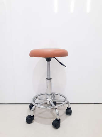 chair, bar stool, Shiny metal and brown leather bar stool, bar chair on the white background Stok Fotoğraf