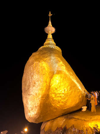 view of pagoda, Kyaiktiyo Pagoda (also known as Golden Rock) is a well-known Buddhist pilgrimage site in Myanmar, Night view of Burmese pagoda, Golden rock, Balancing rock, Mon State, Burma, Myanmar