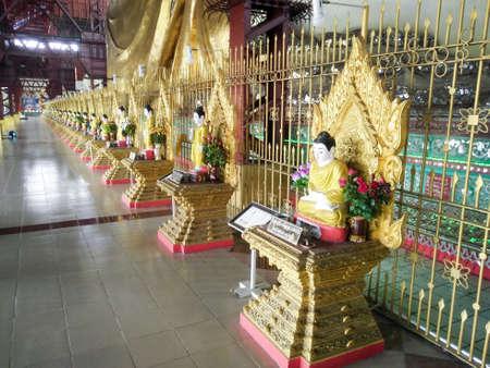 Buddha Image in Chaukhtatgyi Temple in Yangon, Myanmar Editorial