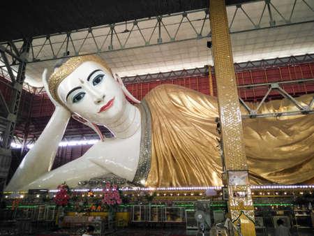 Buddha sleeping, buddha statue in myanmar temple, Shwethalyaung reclining buddha, Bago, Myanmar, Reclining Buddha Kyauk htat gyi at Temple in Yangon,Yangon, Myanmar (Burma)