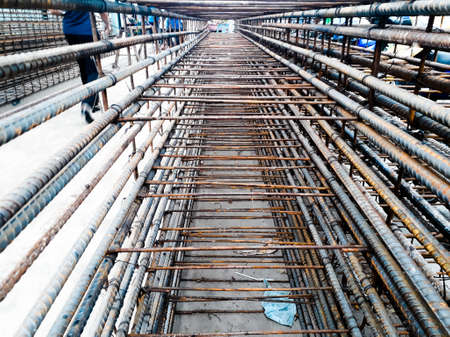 steel, steel for construction work, Reinforcement of the Foundation slab before pouring concrete, Reinforcement of foundations and reinforced concrete structures. Close-up photo