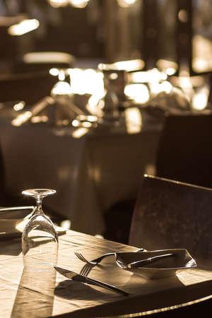 restaurant tables: banquet tables setting  at a restaurant