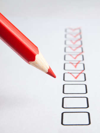 enumerate: Checklist with red pencil Stock Photo