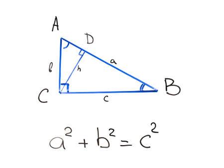 Pythagorean theorem on whiteboard