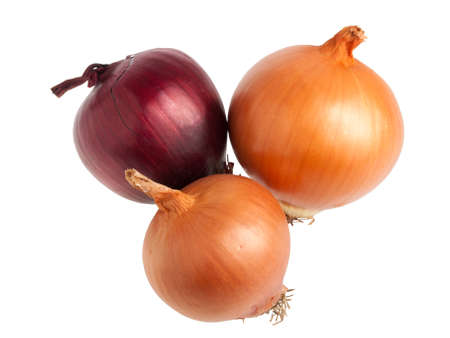 Red and gold spanish onions isolated on white background