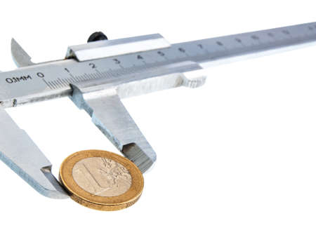 sliding scale: Isolated vernier caliper with a coin on white background