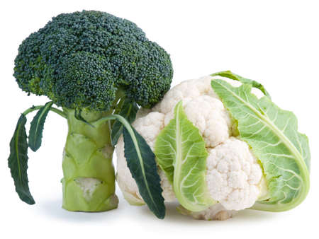 Ripe broccoli and cauliflower isolated on white background
