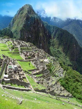 urubamba valley: Machu Picchu in Peru view with Wayna Picchu Stock Photo