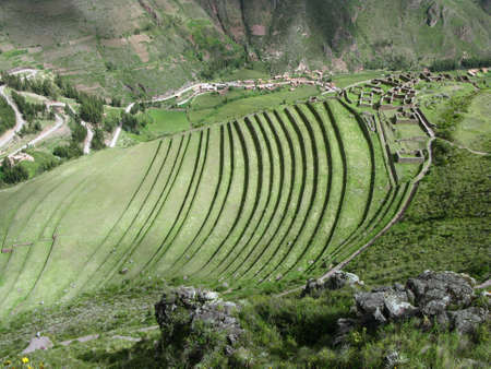 urubamba valley: Urubamba valley terraces. Below Machu Picchu Peru