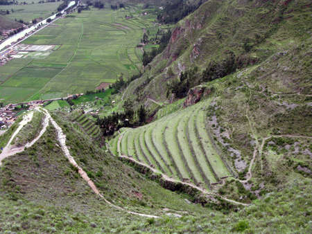 urubamba valley: Below Machu Picchu Urubamba valley terraces. Peru Stock Photo