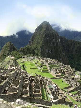 peru architecture: Temple architecture of Machu Picchu. View in Peru Stock Photo