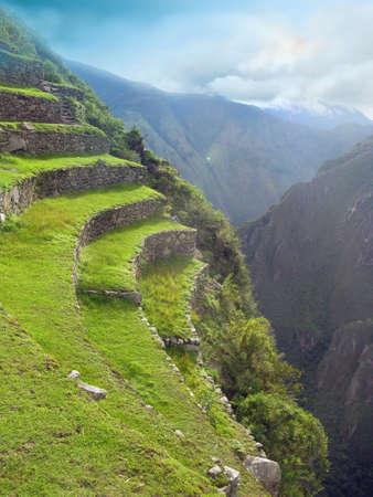 urubamba valley: mountain terraces overview Machu Picchu in Peru