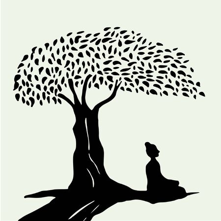 seated: Seated monk under the tree